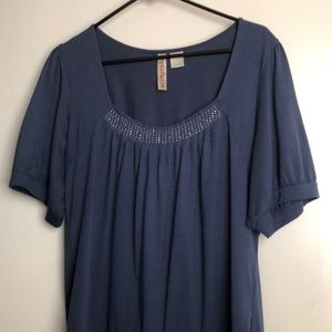 Blue top with bling neckline